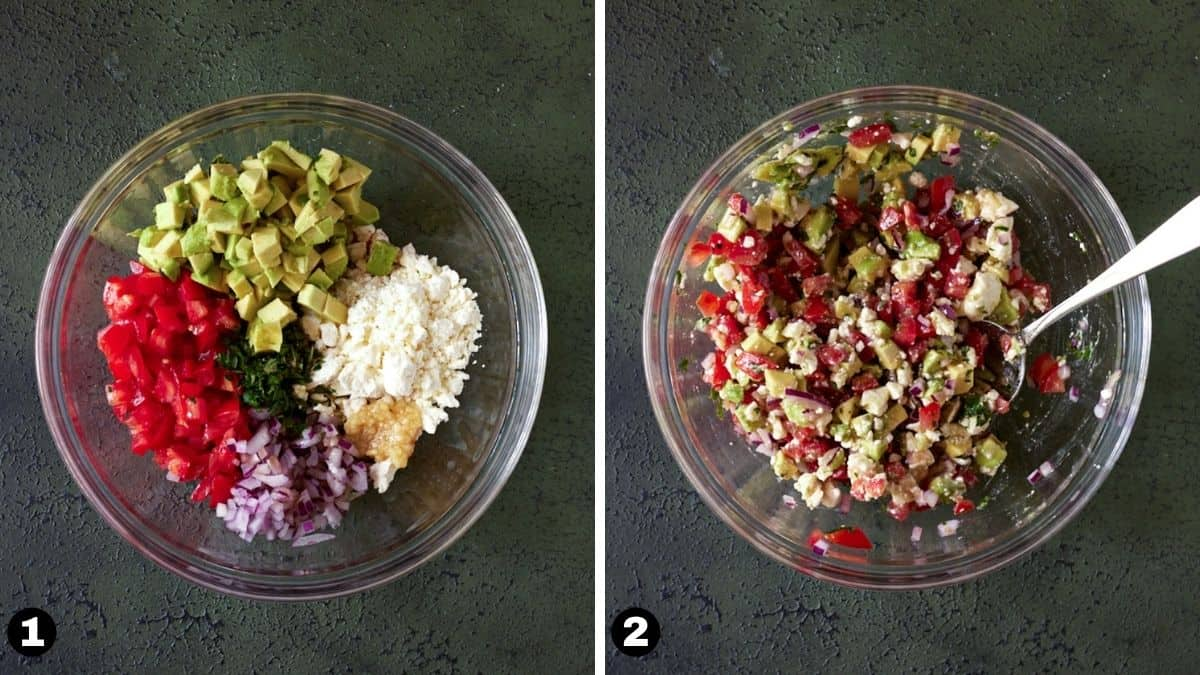 Avocado salsa ingredients in a bowl stirred together with a spoon.