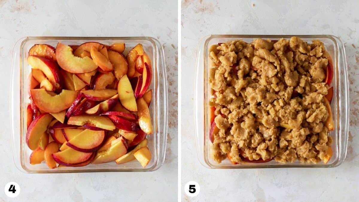 Steps 4-5 in peach crumble recipe.