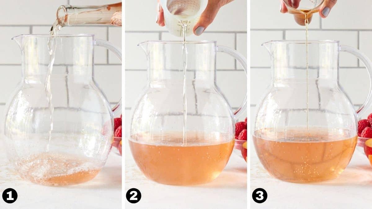 Hand pouring rosé wine, elderflower liqueur and brandy into a pitcher.