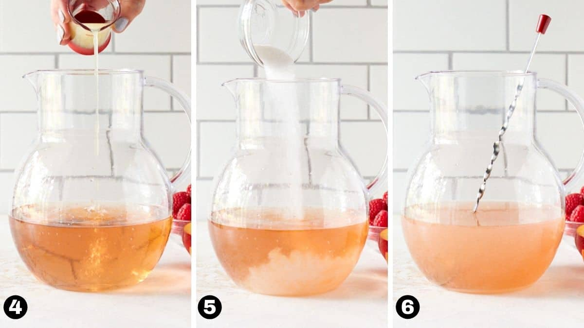 Hand pouring lemon juice and sugar into pitcher and stirring with spoon.