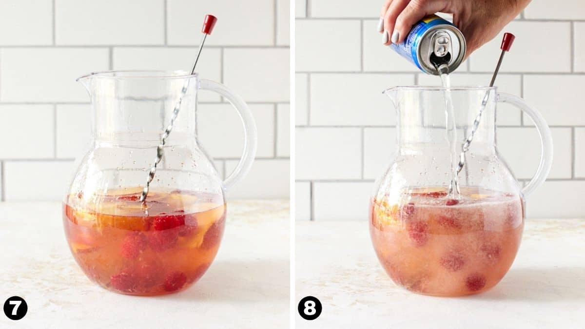 Peaches and raspberries in pitcher. Hand pouring club soda into pitcher.