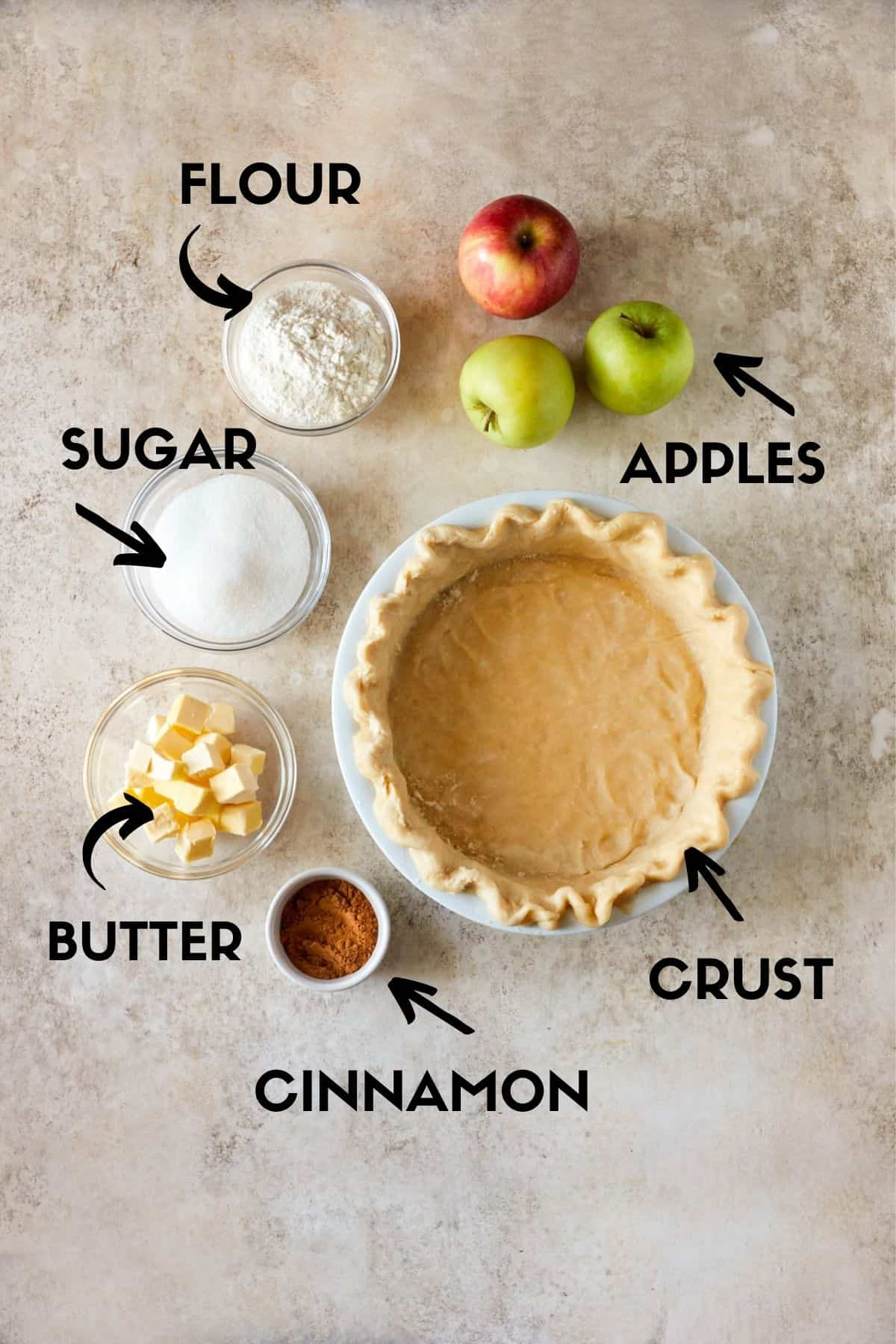 ingredients for apple crumble pie.