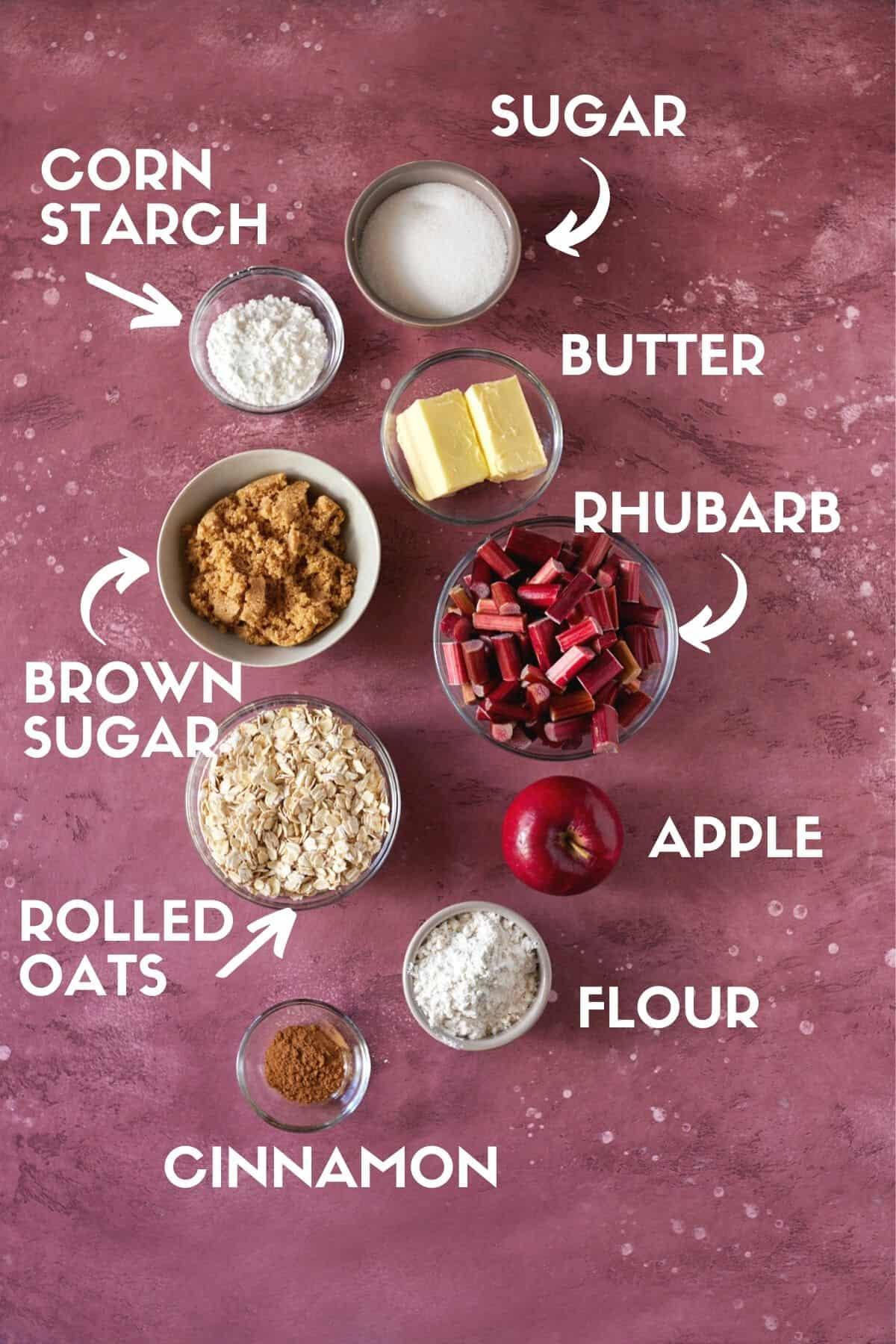 ingredients needed for apple rhubarb crisp.