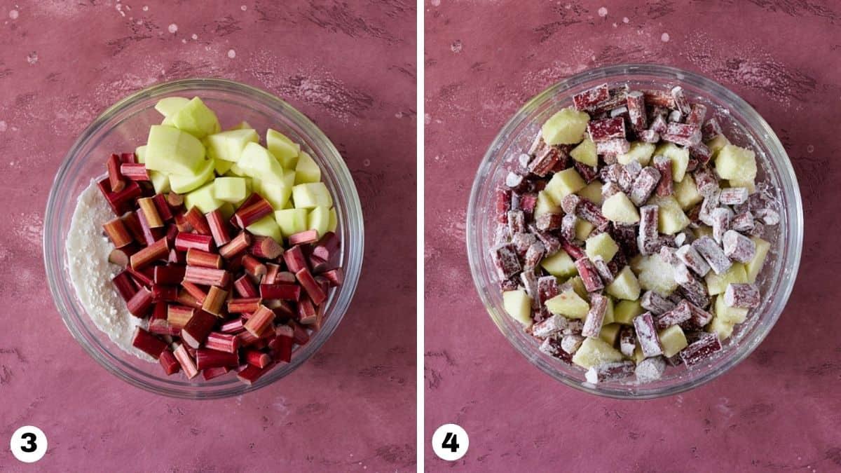 steps3 and 4 for making apple rhubarb crisp.