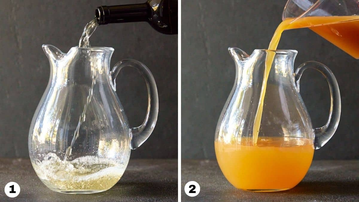 Hand pouring white wine and apple cider into glass pitcher.