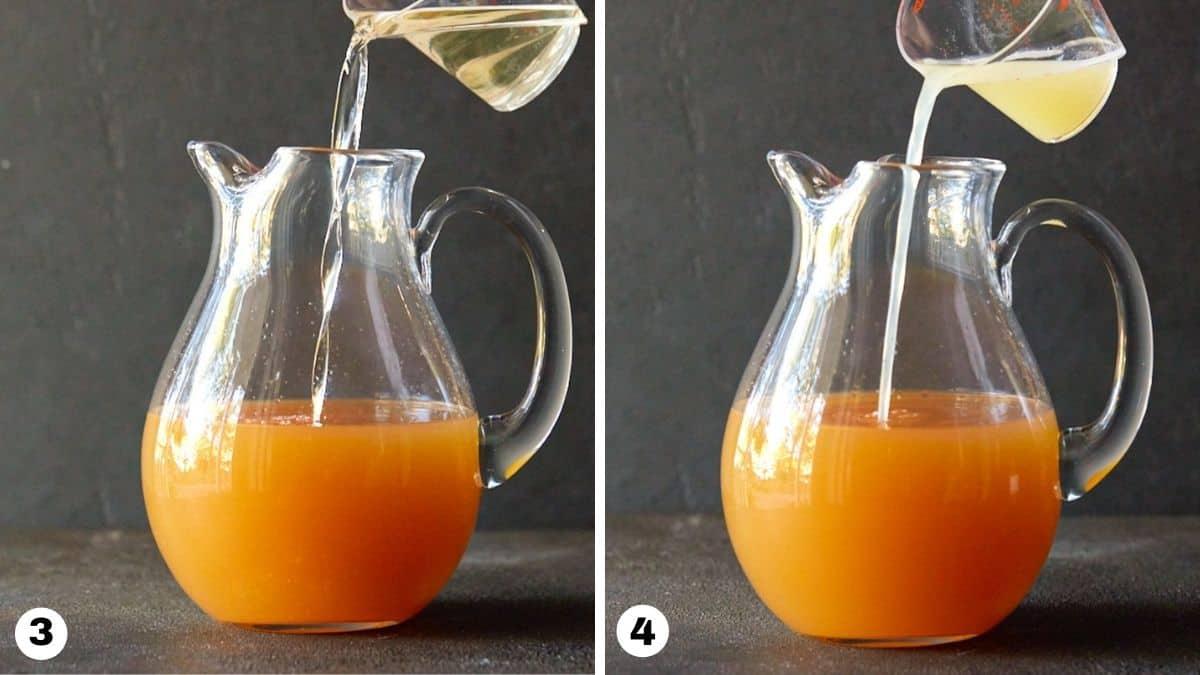 Hand pouring lemon juice & ginger liqueur into glass pitcher.