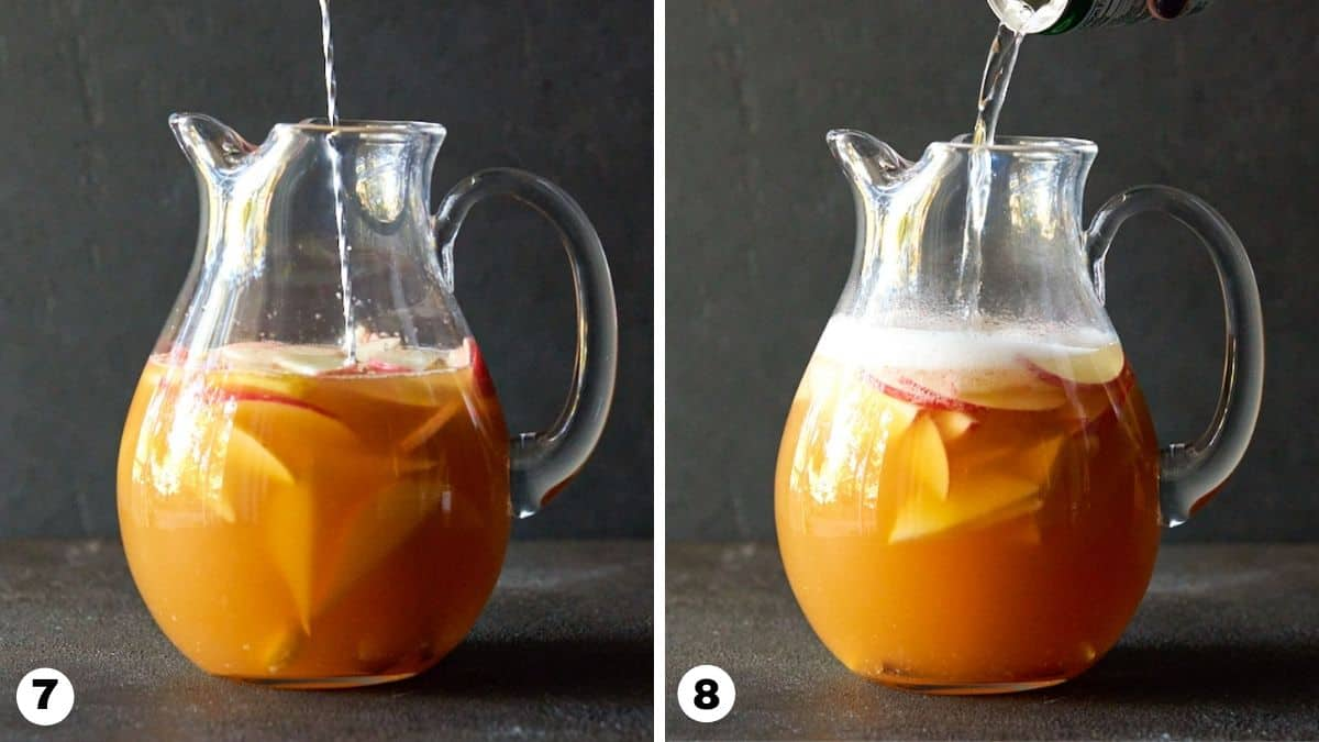 Hand pouring ginger ale into glass pitcher.
