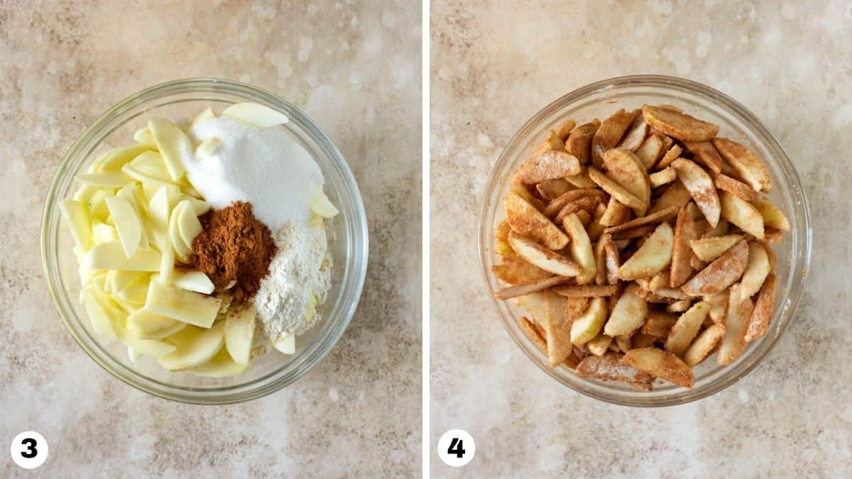 Sliced apples, cinnamon, flour and sugar mixed together in glass bowl.