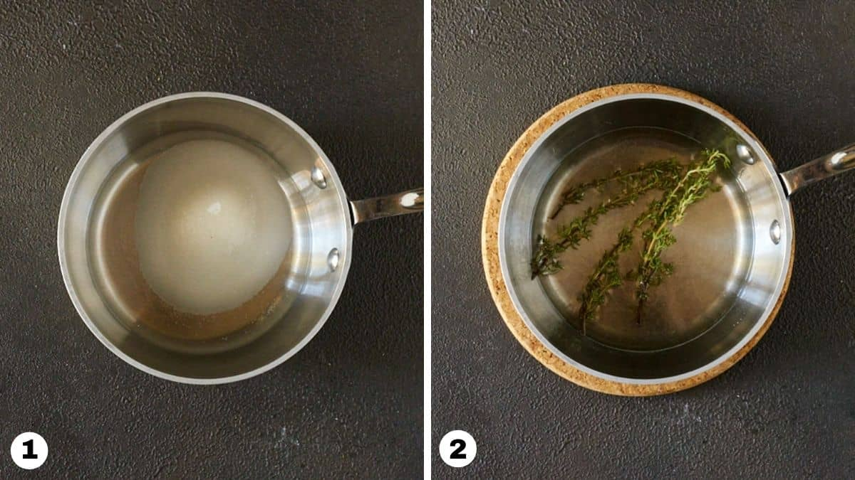 Sugar, water and fresh thyme in a small saucepan.