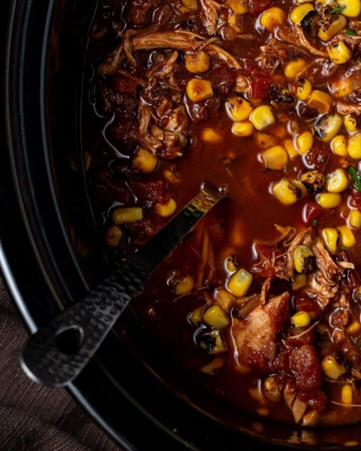 Crock Pot filled with chicken taco soup.