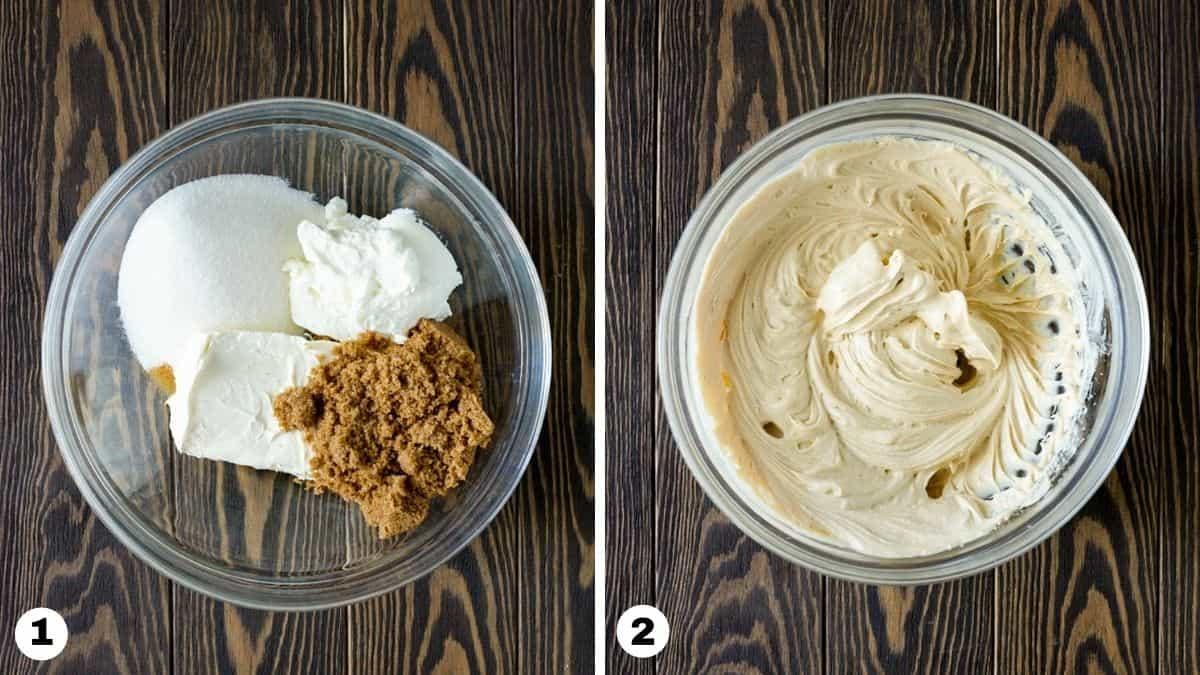 Steps 1-2 of making cream cheese apple dip.