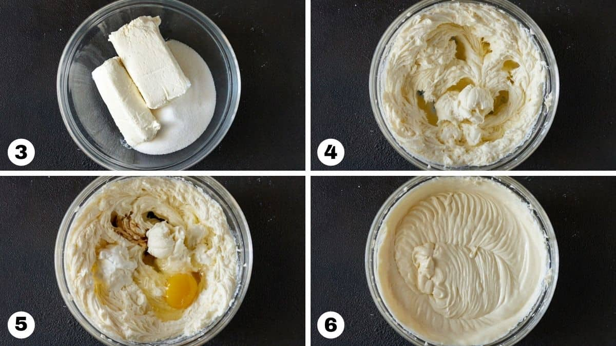 Cheesecake ingredients in a glass mixing bowl.