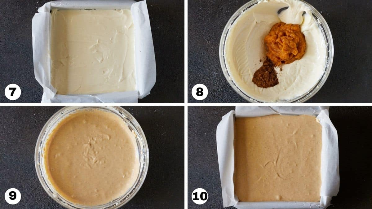 Layered cheesecake ingredients poured into prepared pan.