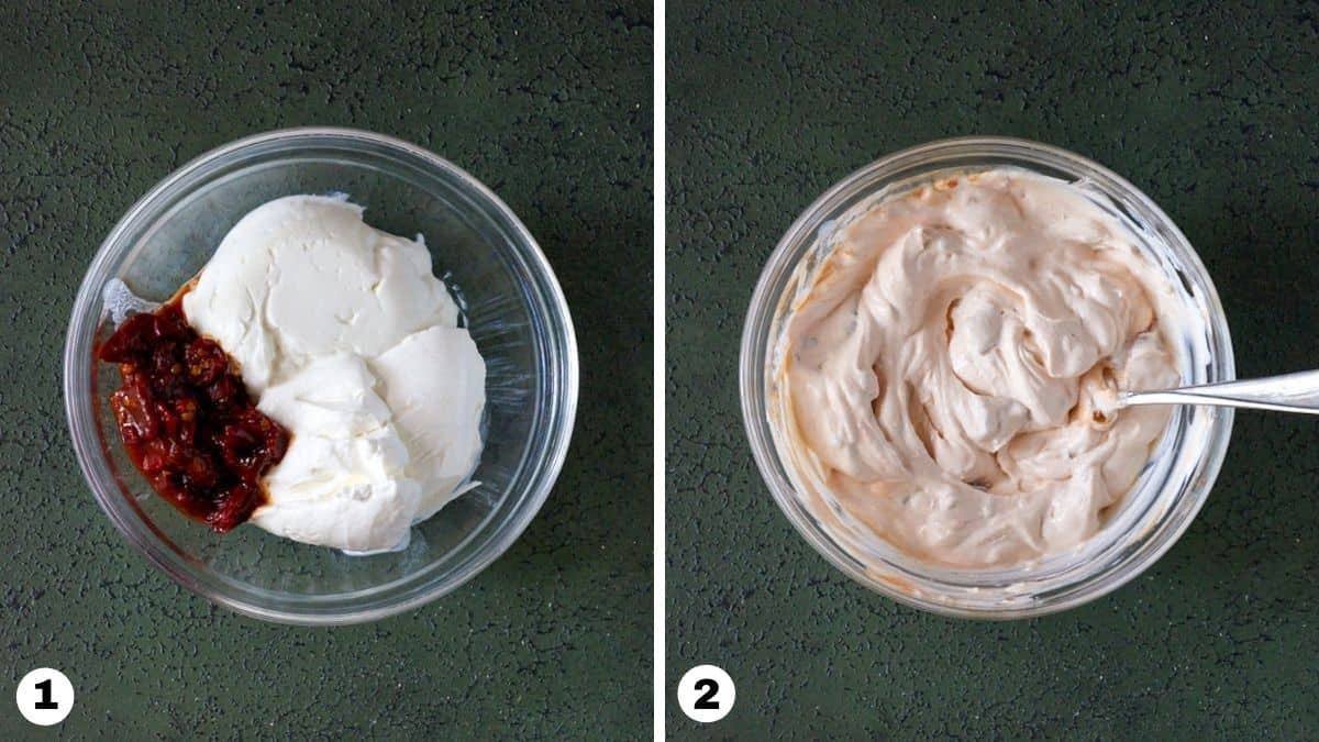 Steps one and two for making chipotle cream.