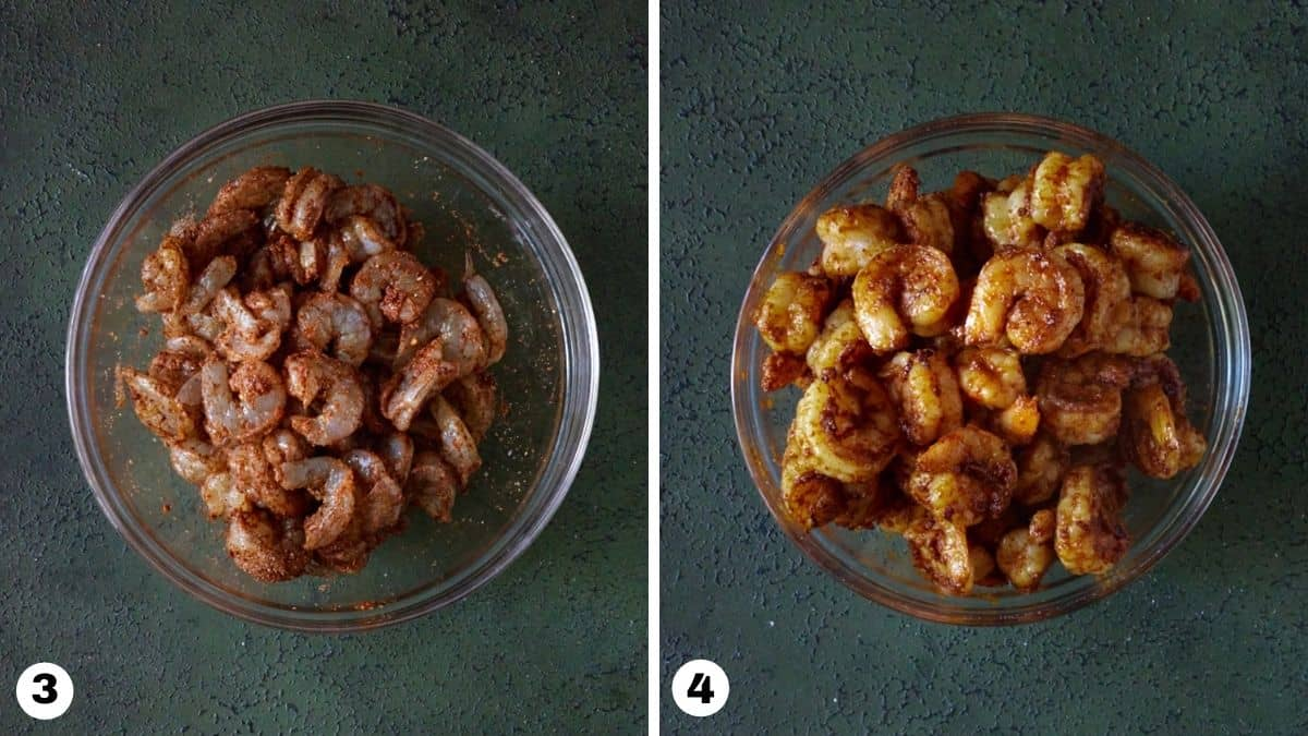 Steps 3 and 4 for shrimp tacos.