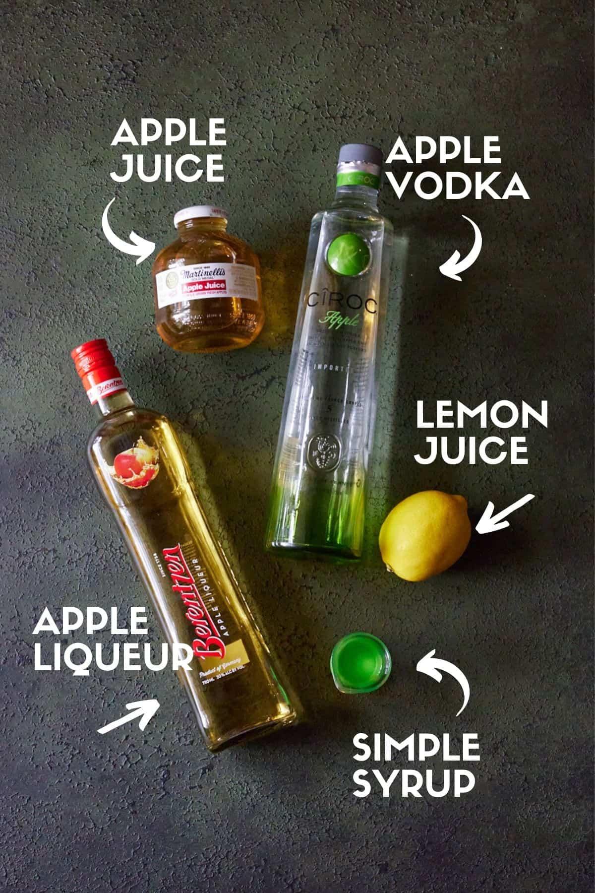Ingredients for Appletini.