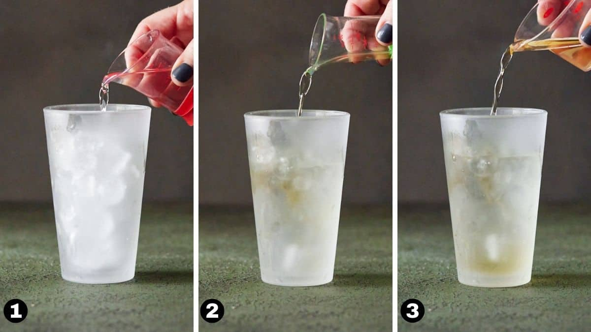 Steps 1-3 for Appletini.