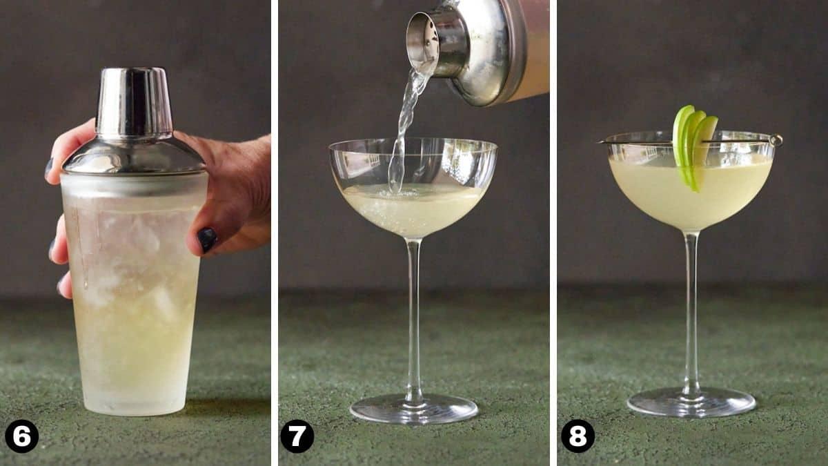 Steps 6-8 for Appletini.