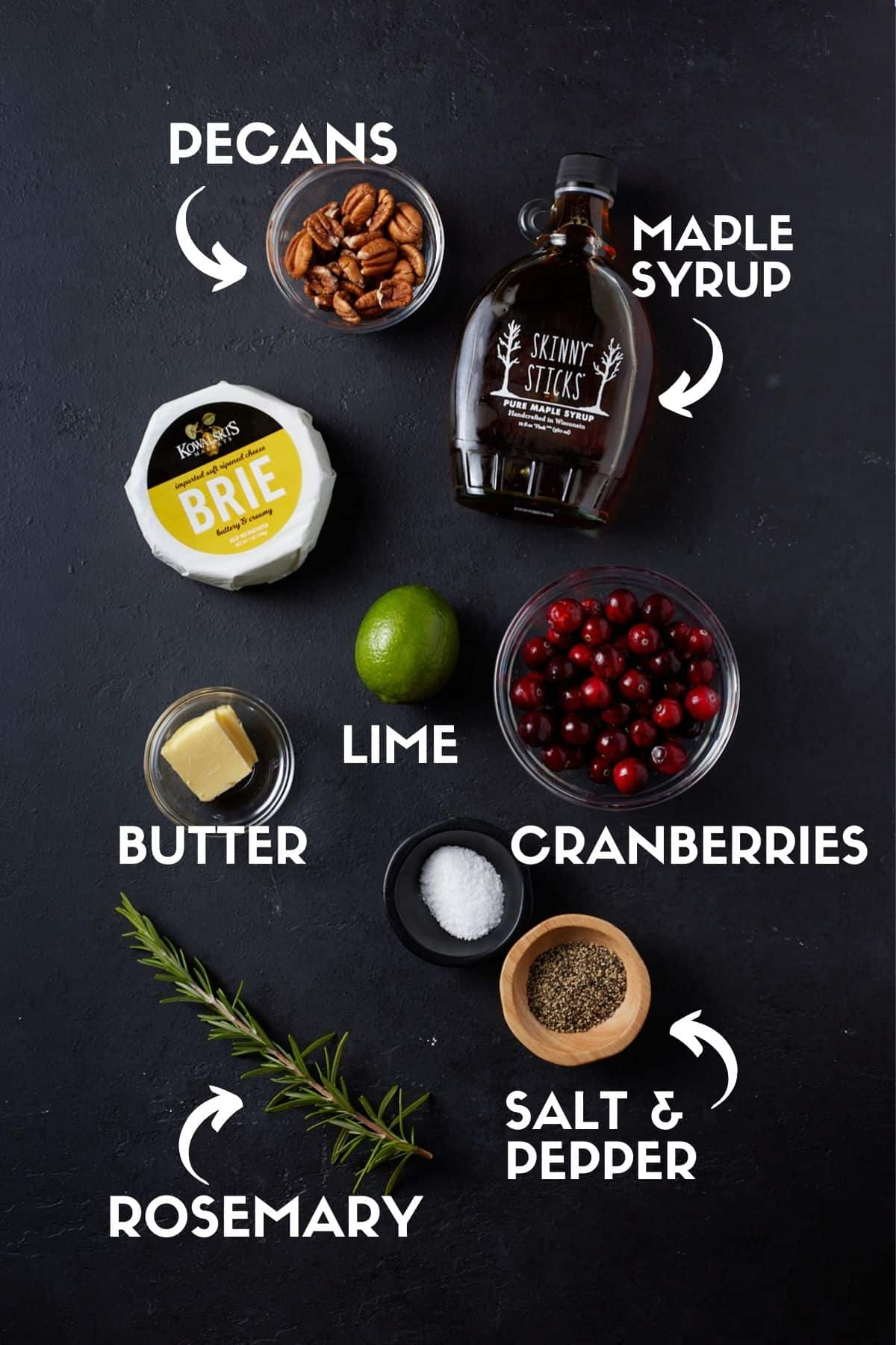 Ingredients for Baked Brie with Jam including cranberries, maple syrup & rosemary.