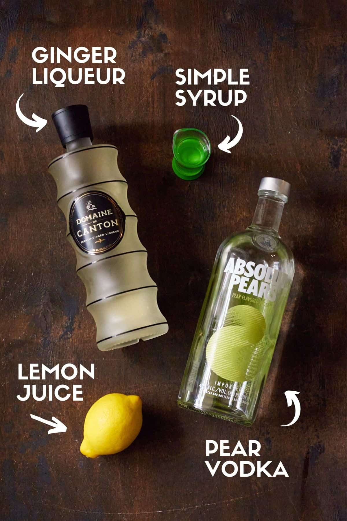 Ingredients for Pear Martini.