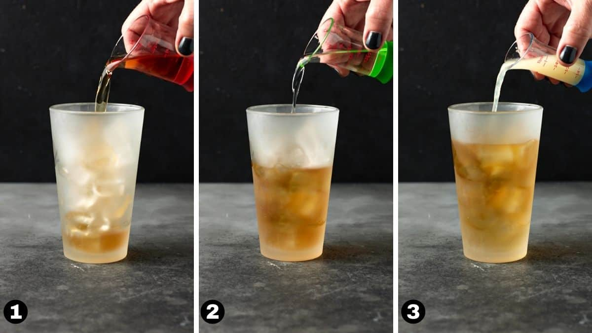 Hand pouring alcohol into a cocktail shaker.