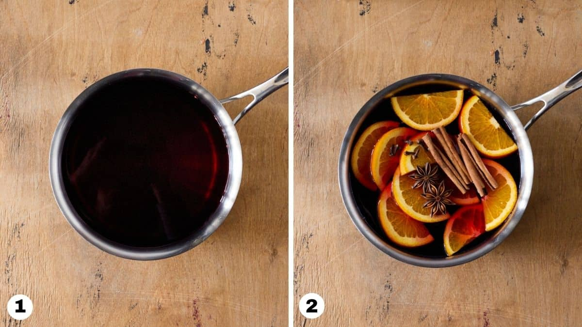 Juice and whole spices in a silver saucepan.