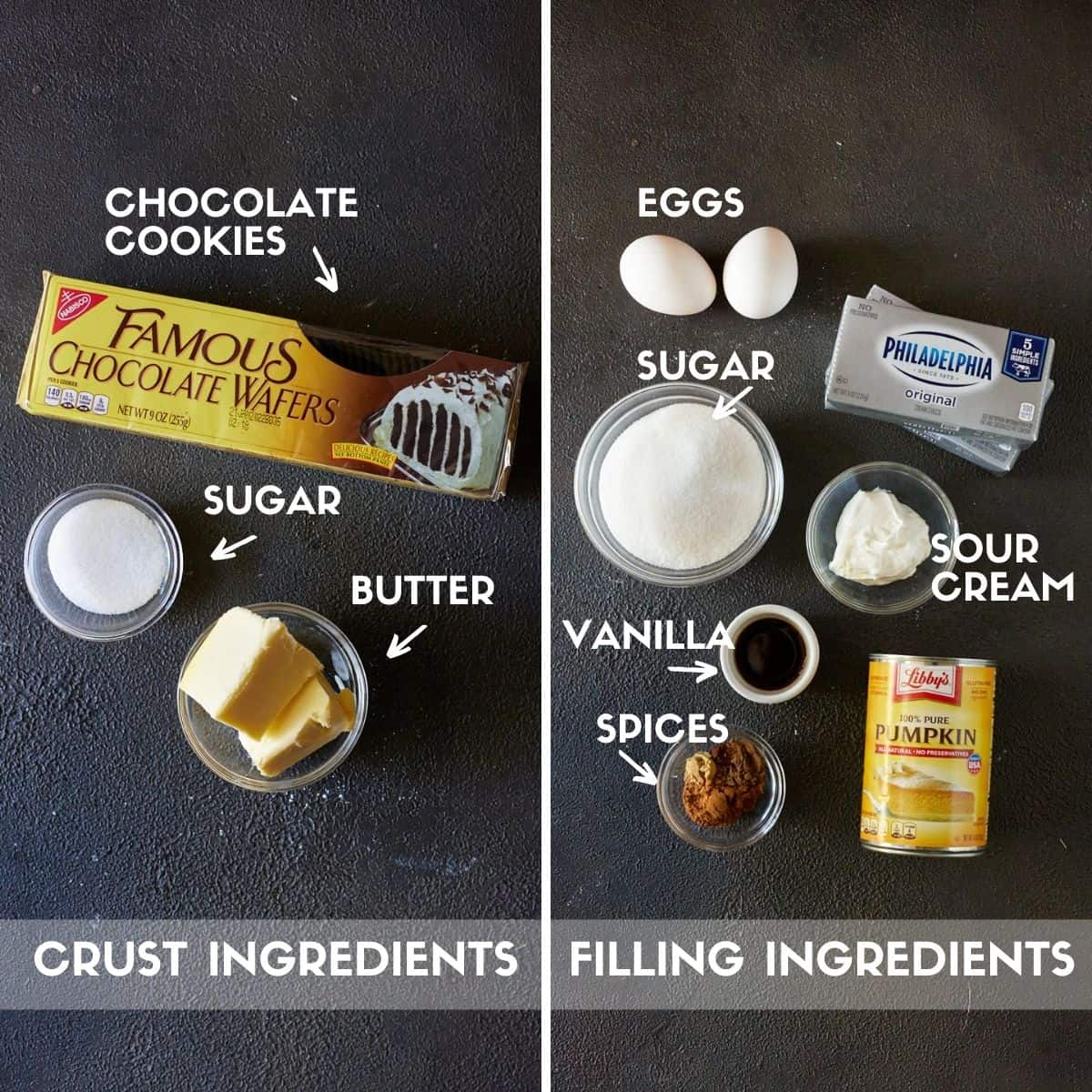 Crust and filling ingredients for cheesecake bars, including chocolate cookies, cream cheese & pumpkin puree.
