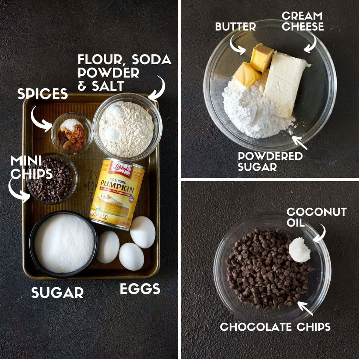 Ingredients for swiss roll cake including pumpkin, chocolate chips, sugar & butter.